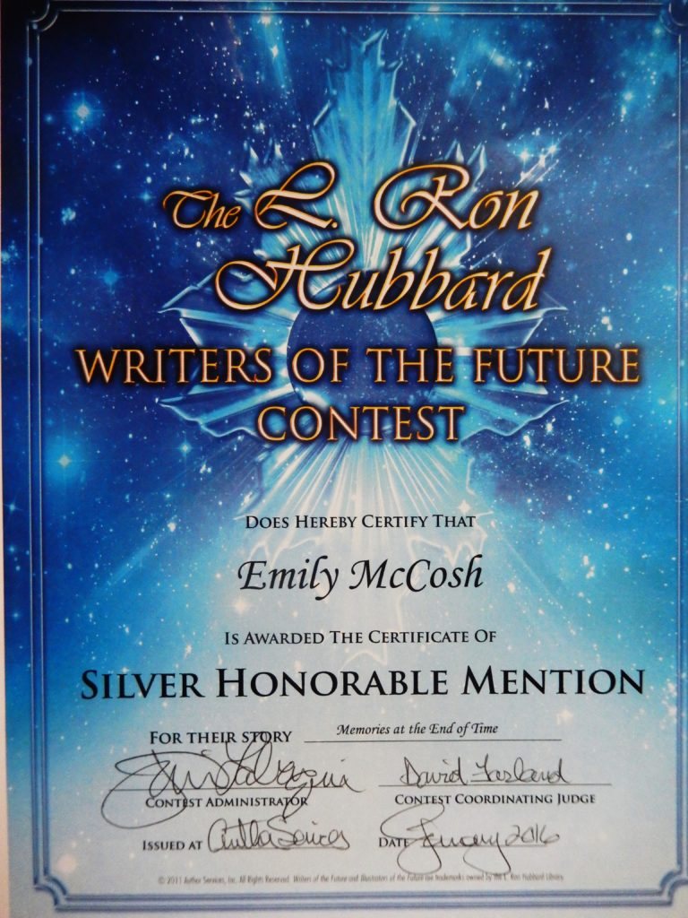 Writers of the Future Silver Honorable Mention Certificate